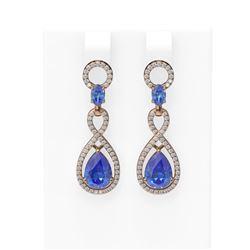 8.75 ctw Tanzanite & Diamond Earrings 18K Rose Gold