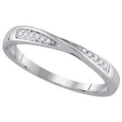 14kt White Gold Round Diamond Fashion Band Ring 1/20 Cttw