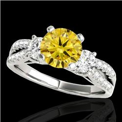 1.5 ctw SI/I Fancy Intense Yellow Diamond 3 Stone Ring 10k White Gold
