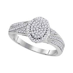 10kt White Gold Diamond Oval Cluster Bridal Wedding Engagement Ring 1/3 Cttw