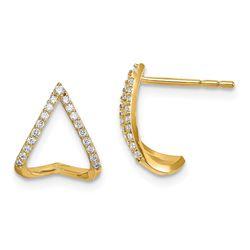 14k Cubic Zirconia Curved Teardrop Post Earrings - 48 mm