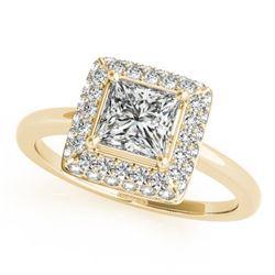 1.6 ctw Certified VS/SI Princess Diamond Halo Ring 14k Yellow Gold