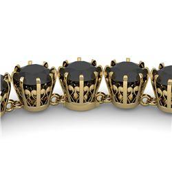 34 ctw Certified Black VS Diamond Necklace Vintage 18K Yellow Gold