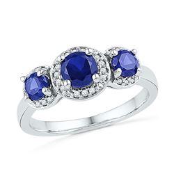 10kt White Gold Round Lab-Created Blue Sapphire 3-stone Diamond Ring 1-3/8 Cttw