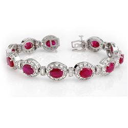 16.0 ctw Ruby & Diamond Bracelet 14k White Gold