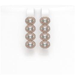 4.52 ctw Oval Cut Diamond Micro Pave Earrings 18K Rose Gold