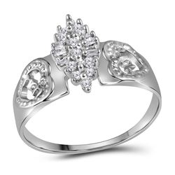 Sterling Silver Round Diamond Heart Mom Cluster Ring 1/8 Cttw
