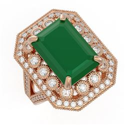 11.98 ctw Certified Emerald & Diamond Victorian Ring 14K Rose Gold