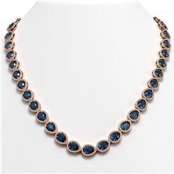 35.13 ctw London Topaz & Diamond Micro Pave Halo Necklace 10k Rose Gold