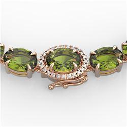 35.25 ctw Green Tourmaline & VS/SI Diamond Micro Necklace 14k Rose Gold