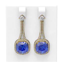12.78 ctw Tanzanite & Diamond Earrings 18K Yellow Gold