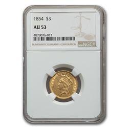 1854 $3 Gold Princess AU-53 NGC