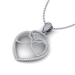 1.20 ctw Micro Pave VS/SI Diamond Heart Necklace 14k White Gold