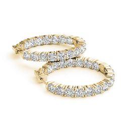 8 ctw Diamond VS/SI Certified 23 MM HOOP Earrings 14K Yellow Gold