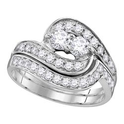 10kt White Gold Round Diamond 2-Stone Hearts Together Bridal Wedding Engagement Ring Band Set 1/2 Ct