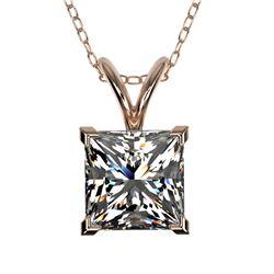1.25 ctw Certified VS/SI Quality Princess Diamond Necklace 10k Rose Gold
