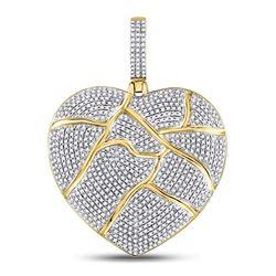 10kt Yellow Gold Mens Round Diamond Fractured Broken Heart Charm Pendant 1-1/2 Cttw