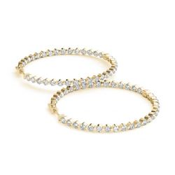 4.25 ctw Diamond VS/SI 50 MM Hoop Earrings 14k Yellow Gold