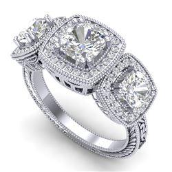 2.75 ctw Cushion VS/SI Diamond Art Deco 3 Stone Ring 18k White Gold
