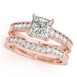 1.18 ctw Certified VS/SI Princess Diamond 2pc Set Antique 14k Rose Gold