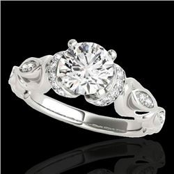 1.2 ctw Certified Diamond Solitaire Antique Ring 10k White Gold