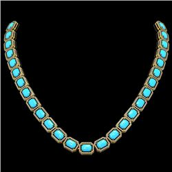 52.89 ctw Turquoise & Diamond Micro Pave Halo Necklace 10k Yellow Gold