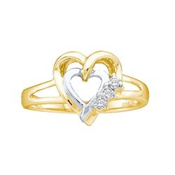 Two-tone Sterling Silver Round Diamond Double Heart Ring .03 Cttw