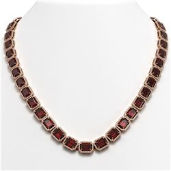 60.59 ctw Garnet & Diamond Micro Pave Halo Necklace 10k Rose Gold