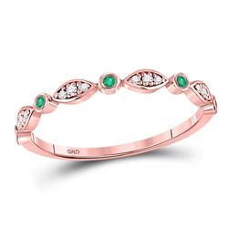 10kt Rose Gold Round Emerald Diamond Marquise Dot Stackable Band Ring 1/8 Cttw