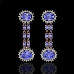 9.01 ctw Tanzanite & Diamond Earrings 14K Rose Gold