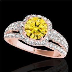 2.25 ctw Certified SI/I Fancy Intense Yellow Diamond Ring 10k Rose Gold