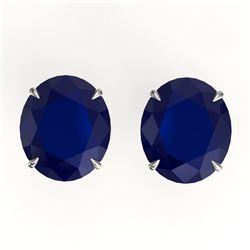 18 ctw Sapphire Designer Solitaire Stud Earrings 18k White Gold