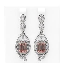 13.52 ctw Morganite & Diamond Earrings 18K White Gold