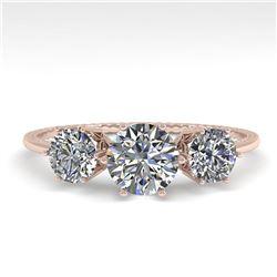 1 ctw VS/SI Diamond Art Deco Ring 14k Rose Gold