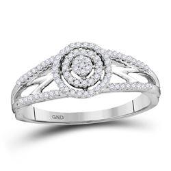 10kt White Gold Round Diamond Cluster Bridal Wedding Engagement Ring 1/5 Cttw