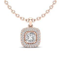 1.08 ctw Micro VS/SI Cushion Diamond Necklace Halo 14k Rose Gold