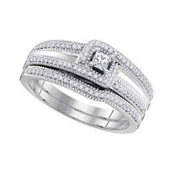 10k White Gold Princess Diamond Bridal Wedding Engagement Ring Band Set 1/3 Cttw