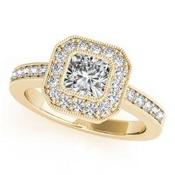 0.8 ctw Certified VS/SI Cushion Diamond Halo Ring 18k Yellow Gold