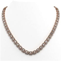 21.12 ctw Emerald Cut Diamond Micro Pave Necklace 18K Rose Gold