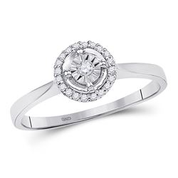 10kt White Gold Round Diamond Solitaire Halo Bridal Wedding Engagement Ring 1/12 Cttw