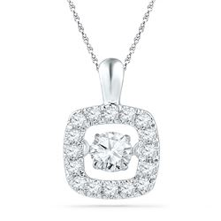 10kt White Gold Round Diamond Square Moving Twinkle Pendant 1/4 Cttw