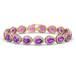 16.76 ctw Amethyst & Diamond Micro Pave Halo Bracelet 10k Rose Gold