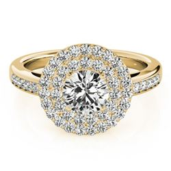 0.85 ctw Certified VS/SI Diamond Solitaire Halo Ring 14k Yellow Gold