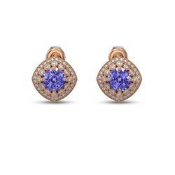 5.09 ctw Tanzanite & Diamond Victorian Earrings 14K Rose Gold