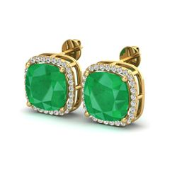 12 ctw Emerald & Micro Pave Halo VS/SI Diamond Earrings 18k Yellow Gold