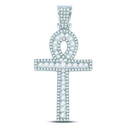 10kt White Gold Mens Round Diamond Ankh Cross Charm Pendant 1.00 Cttw