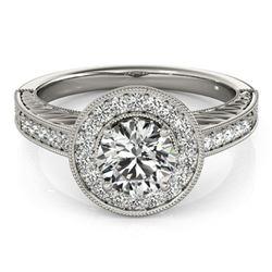 1.07 ctw Certified VS/SI Diamond Halo Ring 18k White Gold