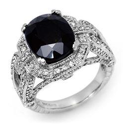 8.50 ctw Blue Sapphire & Diamond Ring 14k White Gold