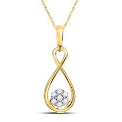 10kt Yellow Gold Round Diamond Infinity Cluster Pendant 1/8 Cttw