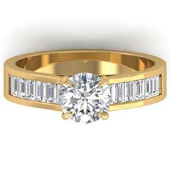 1.75 ctw Certified VS/SI Diamond Art Deco Ring 14k Yellow Gold